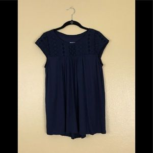 Navy blue rayon knit blouse